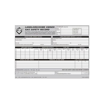 Landlords / Home owners gas safety record pads of 25 66.3010