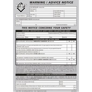 Warning / Advices notices pad of 25 66.3012